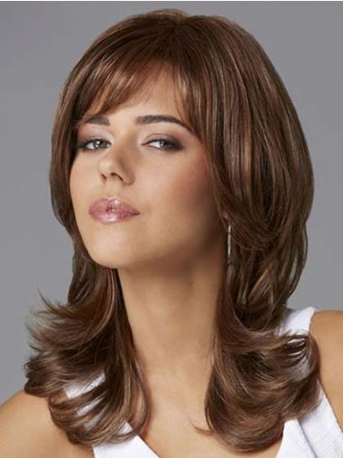 "Flexibility Shoulder Length Wavy 14"" Synthetic Glueless Lace Front Wigs"