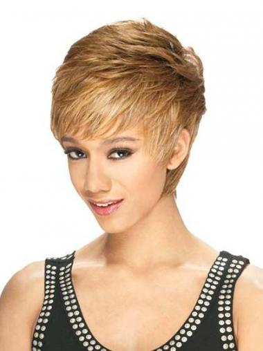 """Designed Cropped Straight 8"""" Synthetic Glueless Lace Front Wigs"""