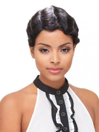 Short Black Boycuts Wavy Modern Full Lace Wigs
