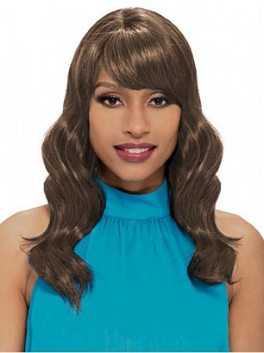 Shoulder Length Brown Wavy With Bangs New African American Wigs