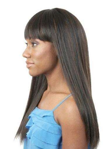"20"" Long Black Straight Synthetic With Bangs Cheap African Wigs UK"