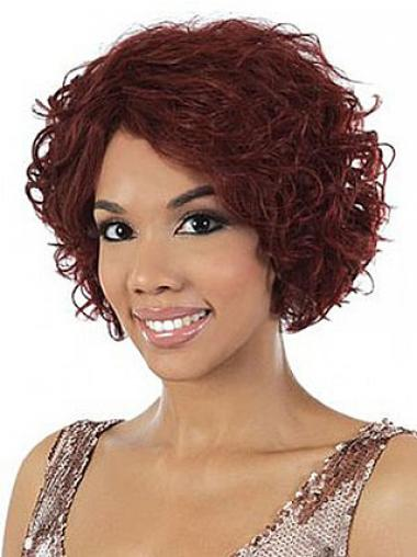 Chin Length Red Wavy Without Bangs Stylish African American Wigs