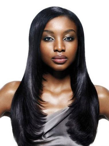 Long Black Yaki Without Bangs Best African American Wigs