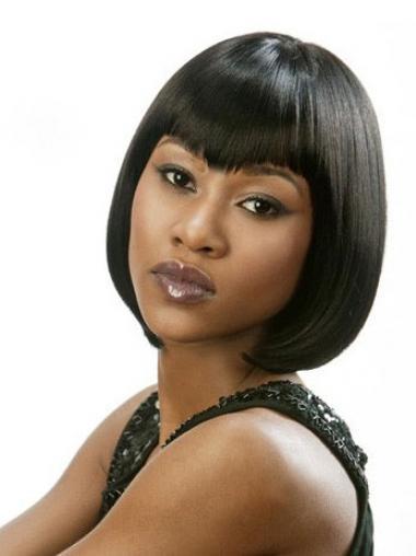 Bobs Sassy Yaki Black Chin Length Human Hair Lace Front Wigs