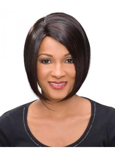 Chin Length Auburn Straight Bobs High Quality African American Wigs