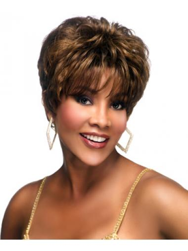 Cropped Brown Wavy Boycuts Convenient African American Wigs
