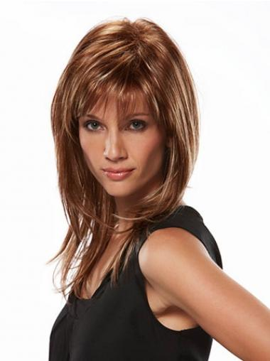 Online Brown Straight Layered Long Wigs