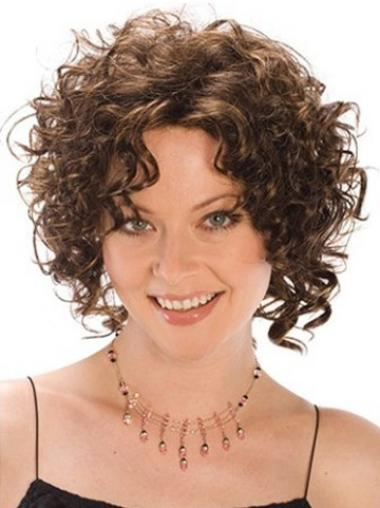 Heat Resistant Synthetic Wigs Curly Style Brown Color Classic Cut