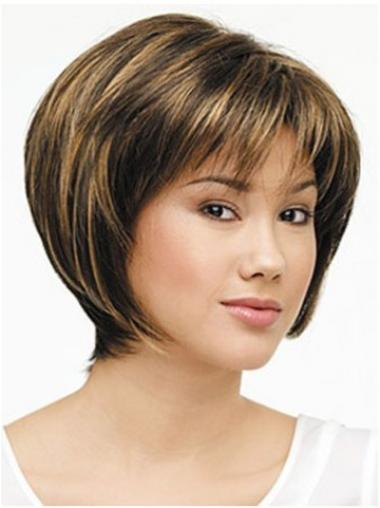 Lace Front Chin Length Straight Brown Designed Bob Wigs