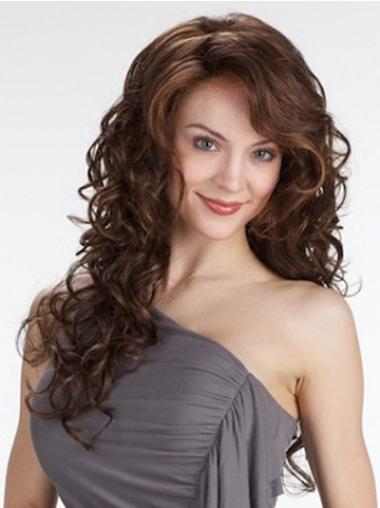 Curly With Bangs Long Brown Beautiful Lace Front Wigs