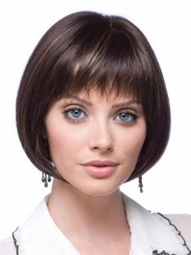 Lace Front Short Straight Brown Flexibility Bob Wigs