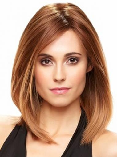 Straight Without Bangs Shoulder Length Auburn Exquisite Lace Front Wigs