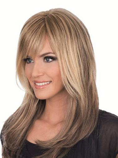 Long Brown With Bangs Straight Comfortable Full Lace Wigs