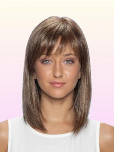 Straight With Bangs Shoulder Length Brown No-Fuss Lace Front Wigs