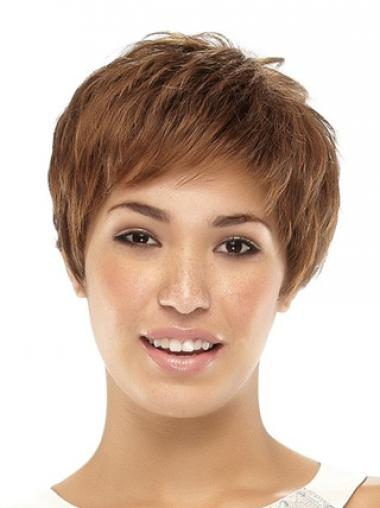Cropped Boycuts Straight Brown Popular Synthetic Wigs