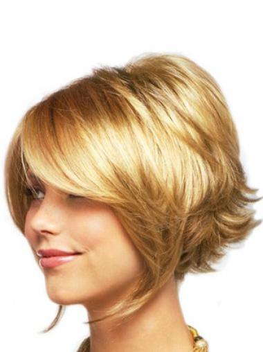 Sleek Blonde Chin Length Wavy Layered Lace Front Wigs