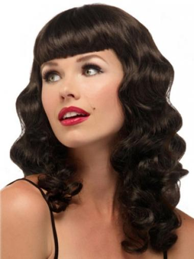 Hairstyles Brown Wavy With Bangs Long Wigs