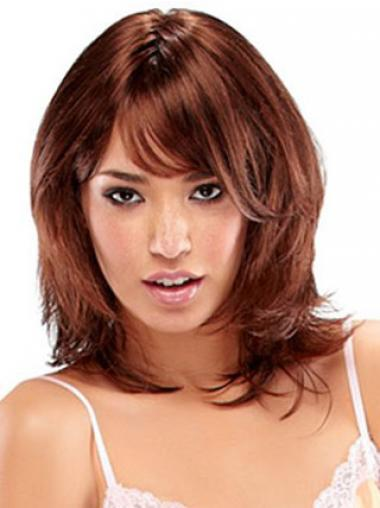 Shoulder Length Layered Straight Auburn Beautiful Synthetic Wigs