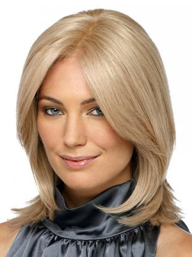 Shoulder Length Without Bangs Straight Blonde Designed Synthetic Wigs
