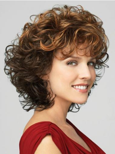 Classic Ladies Wig With Bangs Lace Front Curly Style Chin Length