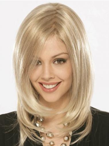 Shoulder Length Without Bangs Straight Blonde Flexibility Synthetic Wigs