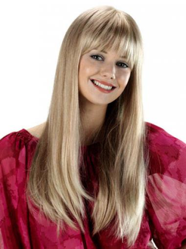 Long With Bangs Straight Blonde Fabulous Synthetic Wigs