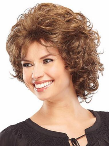 Synthetic Classic Wigs Layered Cut Curly Style Chin Length Auburn Color