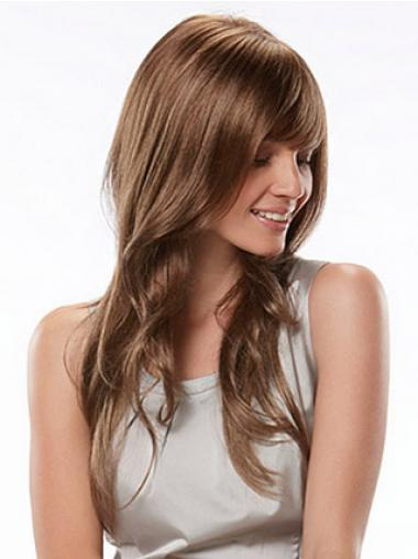 Long With Bangs Wavy Auburn Fashion Synthetic Wigs