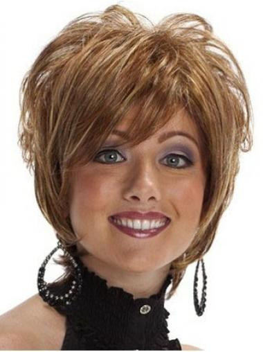 Short Layered Wavy Brown High Quality Synthetic Wigs
