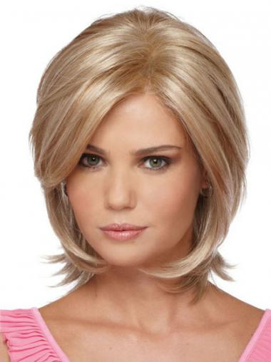 Chin Length Bobs Straight Blonde Modern Synthetic Wigs