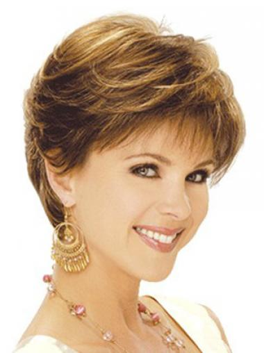 Classic Wigs With Capless Synthetic Brown Color Wavy Style Layered Cut