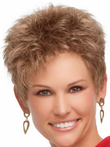 Cropped Boycuts Wavy Blonde Suitable Synthetic Wigs