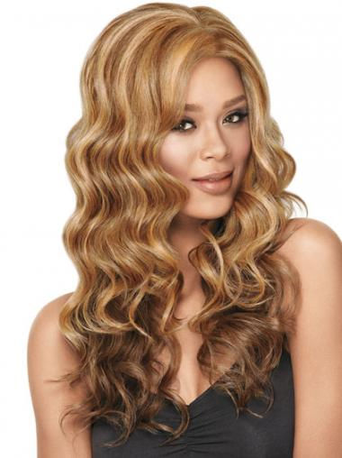 Wavy Without Bangs Long Sleek Blonde Synthetic Wigs