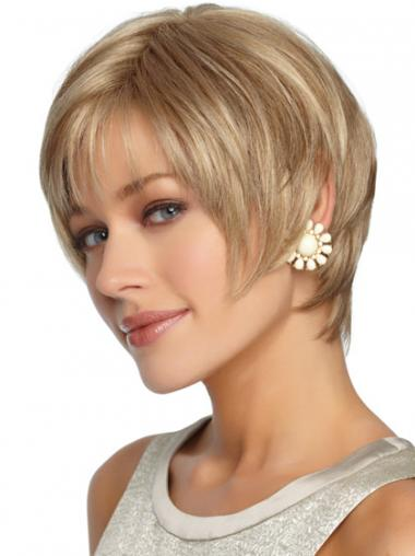 Short Layered Straight Blonde Hairstyles Synthetic Wigs