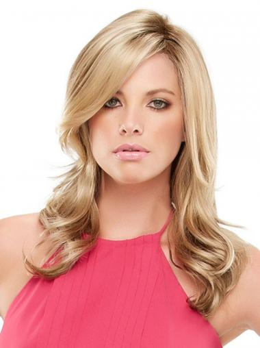 Hand Tied Wigs Synthetic With Bangs Blonde Color Wavy Style Long Length