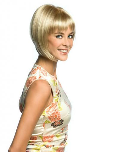 Lace Front Chin Length Straight Blonde Sleek Bob Wigs