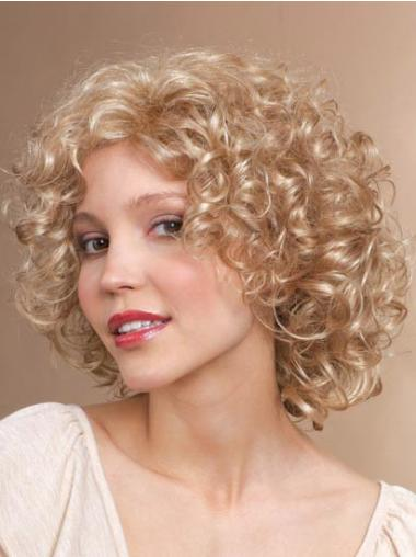 Chin Length Classic Curly Blonde Stylish Synthetic Wigs