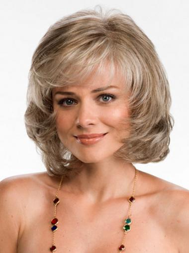 Modern Blonde Chin Length Wavy Layered Lace Front Wigs