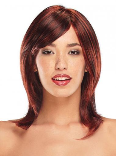 Straight Layered Shoulder Length Red Ideal Lace Front Wigs
