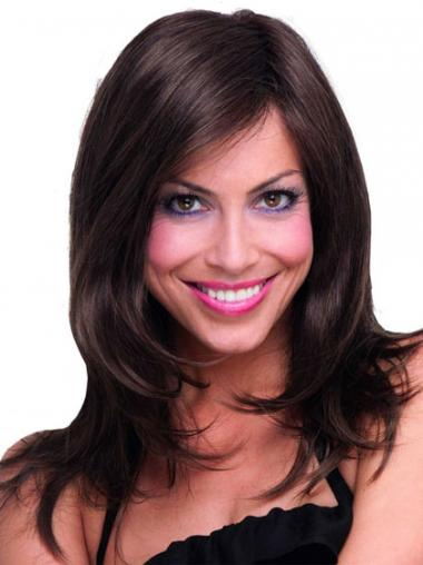 Long Layered Straight Brown Discount Synthetic Wigs