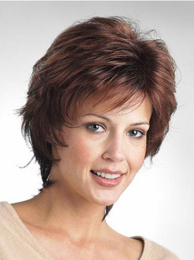 Wavy Layered Short Comfortable Brown Synthetic Wigs