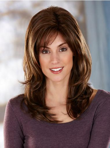 UK Seller Hair Synthetic Long Length Brown Color Layered Cut