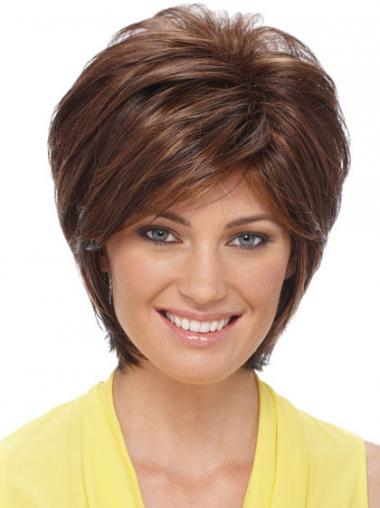 Sleek Synthetic Wigs Auburn Color Short Length Layered Style