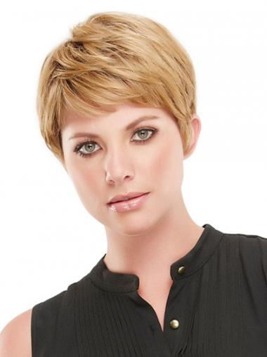 Cropped Boycuts Straight Blonde Soft Synthetic Wigs