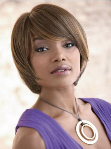 Chin Length Bobs Straight Brown Natural Synthetic Wigs