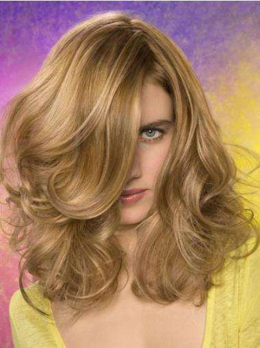 Wavy Layered Shoulder Length Blonde Fashionable Lace Front Wigs