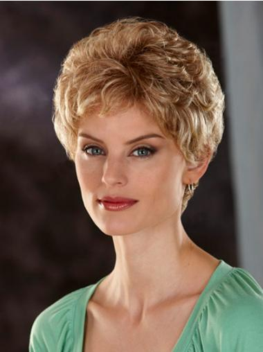 Comfortable Blonde Short Wavy Classic Lace Front Wigs