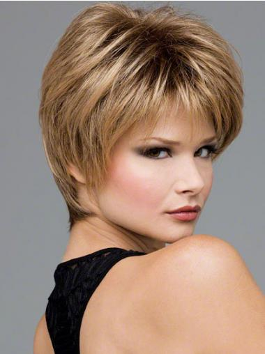 Short Wavy Boycuts Blonde Synthetic Wavy Lace Front Wigs