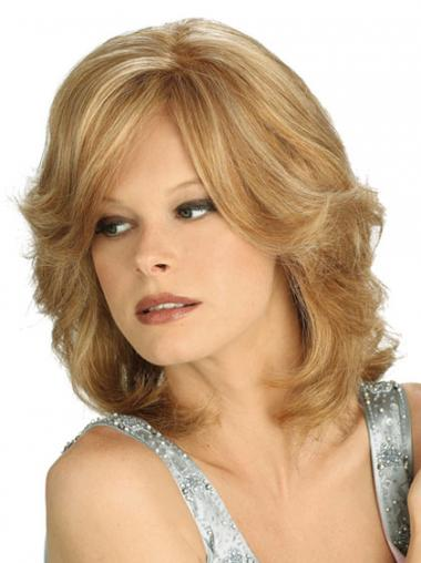 Shoulder Synthetic Blonde 100% Hand Tied With Bangs Mono Wigs UK