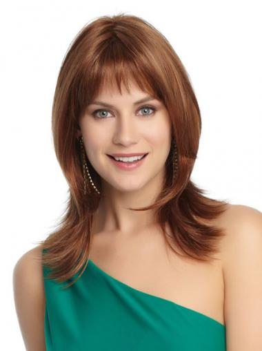 Layered Shoulder Length Auburn Straight Modern Petite Wigs